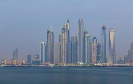 Dubai - The evening Marina towers. 스톡 콘텐츠