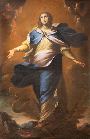 COMO, ITALY - MAY 9, 2015: The painting of Immaculate Conception in church Basilica di San Fedele by unknown artist.