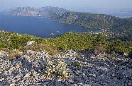 Croatia - The panoramatic landscape and the coast of Peliesac peninsula near Zuliana from Sveti Ivan peak at the sunrise