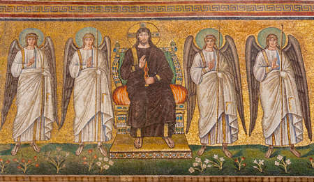 RAVENNA, ITALY - JANUARY 28, 2020: The mosaic of Jesus Christ on the throne the angels from church Basilica of Sant Apolinare Nuovo from the 6. cent. Editorial
