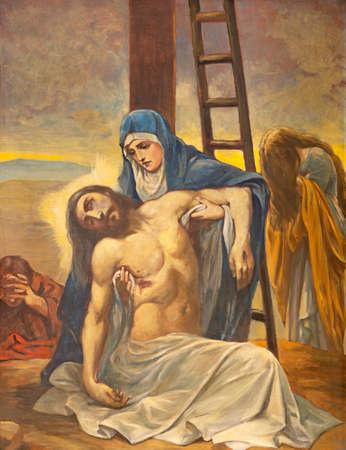 BARCELONA, SPAIN - MARCH 5, 2020: The painting of Pieta (Deposition) in the church Església de la Concepció from 20. cent.
