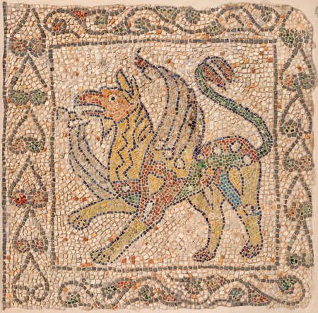 RAVENNA, ITALY - JANUARY 29, 2020: The detail of early christian mosaic pavement from elder builidng in the Chiesa di San Giovanni Evangelista church.