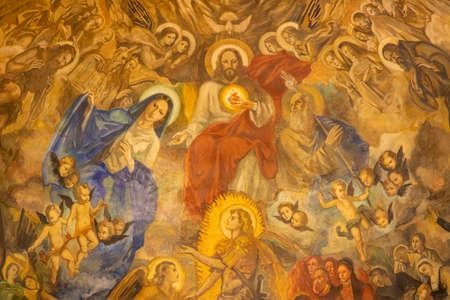 BARCELONA, SPAIN - MARCH 3, 2020: The modern painting of Glory of Heart of Jesus in the church Santuario Nuestra Senora del Sagrado Corazon by Francisco Labarta (20. cent.). Éditoriale
