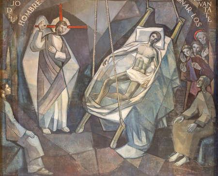 BARCELONA, SPAIN - MARCH 5, 2020: The modern fresco Jesus Heals lame man in church Santuario Maria Auxiliadora i Sant Josep by Fidel Trias Pages and Raimon Roca (1966). Редакционное