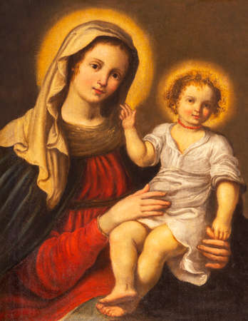PARMA, ITALY - APRIL 17, 2018: The detail of Madonna in church Chiesa di Santa Lucia by master of Parma school from first half of 17. cent. Editorial