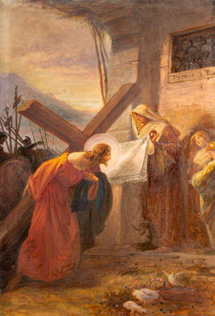 COMO, ITALY - MAY 8, 2015: The painting - Veronica wipes the face of Jesus (part ot Via Crucis) in church Santuario del Santissimo Crocifisso as the part of Via Crucis by Pnziano Loverini (1917).