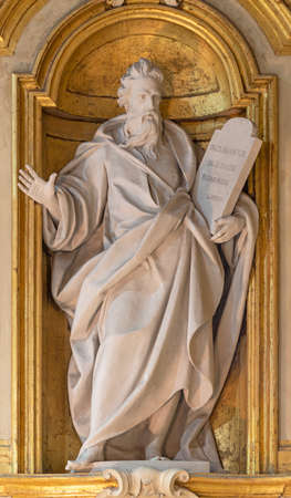 BOLOGNA, ITALY - JANUARY 30, 2020: The statue of prophet Isaiah in baroque church Chiesa Corpus Christi.