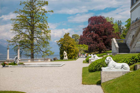BELAGGIO, ITALY - MAY 10, 2015: The Villa Melzi on the waterfront of Como lake and the gardens. Archivio Fotografico