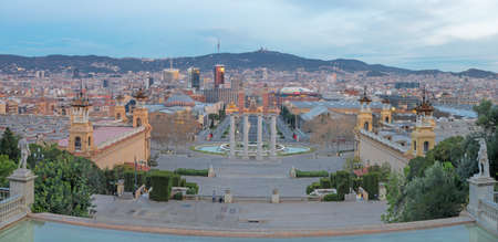 Barcelona - The panorama with the Plaza Espana at the dusk.