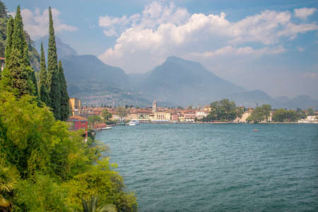 Riva del Garda - The City from south with the Alps in the backgound.