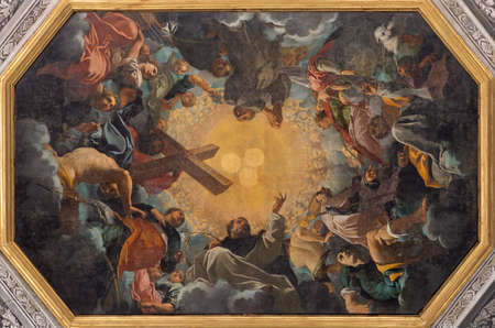 """FERRARA, ITALY - JANUARY 30, 2020: The """"The condemnation of the eresia"""" paint on the ceiling in church Chiesa di Santa Maria in Vado by Carlo Bononi (1569 - 1632). Éditoriale"""