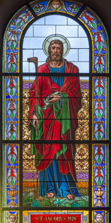 PRAGUE, CZECH REPUBLIC - OCTOBER 13, 2018: The apostle Saint James the Lees in the stained glass of the church kostel Svatého Václava  (end of 19. cent).