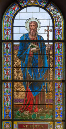 PRAGUE, CZECH REPUBLIC - OCTOBER 13, 2018: The apostle Saint Philip in the stained glass of the church kostel Svatého Václava  (end of 19. cent). Editoriali