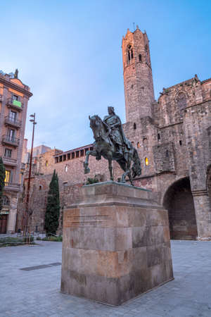Barcelona - The memorial of Ramon Berenguer III on the Placa del Rei square.