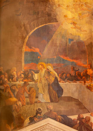 BARCELONA, SPAIN - MARCH 3, 2020: The modern painting of The miracle at the wedding at Cana in the church Santuario Nuestra Senora del Sagrado Corazon by Francisco Labarta (20. cent.).
