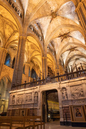 BARCELONA, SPAIN - MARCH 4, 2020: The  presbytery of Cathedral of the Holy Cross and Saint Eulalia.