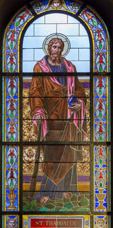 PRAGUE, CZECH REPUBLIC - OCTOBER 13, 2018: The apostle Saint Jude Thaddeus in the stained glass of the church kostel Svatého Václava  (end of 19. cent).