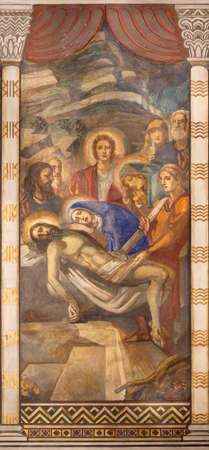 BARCELONA, SPAIN - MARCH 3, 2020: The fresco of Deposition (Pieta) in the church Parroquia Santa Teresa de l'Infant Jesus by Francisco Labarta (20. cent.). Editoriali