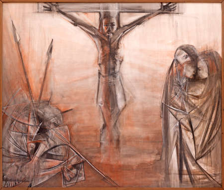 TAORMINA, ITALY - APRIL 9, 2018: The modern painting of the Crucifixion in church Chiesa di Santa Caterina d'Alessandria by Nino Carnabuci (1986).