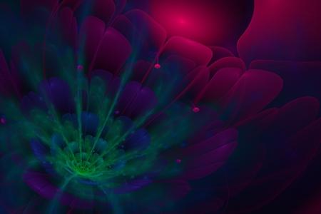 3d flower: 3D flower fractal  on dark background. Stock Photo