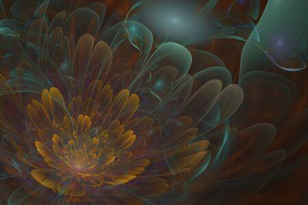 3d flower: 3D flower fractal with gold color in the center.