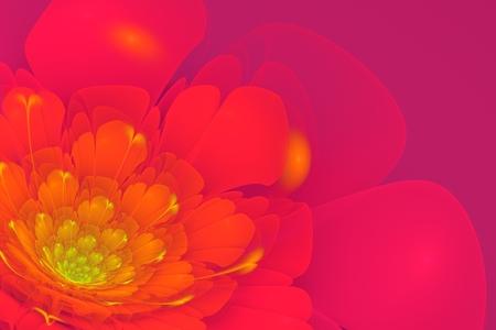 3d flower: 3D flower fractal on violet background.