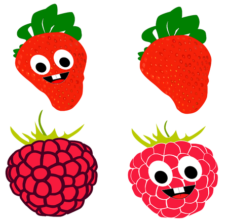 lila: On this picture is cartoon raspberry and strawberry with laugh and big eyes.