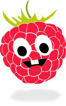 lila: On this picture is cute cartoon raspberry with grin. Stock Photo