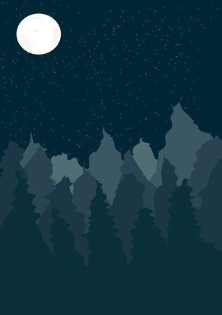 coniferous forest: En este cuadro es paisaje con bosques de coníferas en la noche.