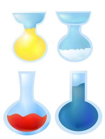 mixtures: On this illustration is four concoction in different colors.