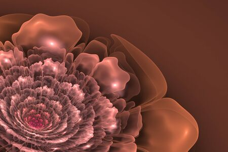 3d flower: This is 3D flower fractal, that looks very interesting on brown background. Stock Photo