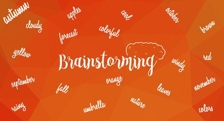 Word brainstorming with brain and many words associated with autumn on triangular orange low poly backdrop.
