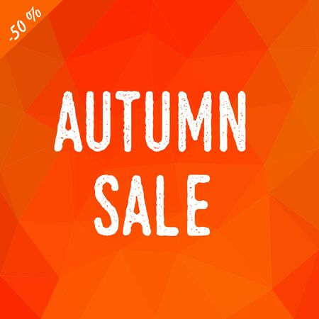 Triangular low poly background in shades of fall colors with ehite inscription autumn sale.