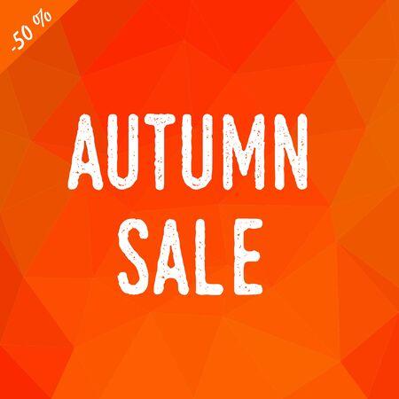 Triangular Low-Poly-Hintergrund in den Farben des Herbstes Farben mit ehite Inschrift Herbst Verkauf. Vektorgrafik