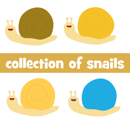 Collection of four cartoon cute snails in brown, yellow, orange or turquoise color.