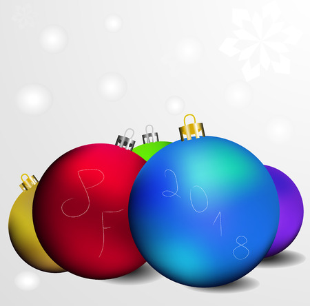 This is vector greeting card with inscription pf 2018 and a few colored christmas globes.