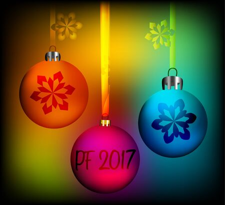 lila: This is vector greeting card with inscription pf 2017 and a few colored christmas globes.
