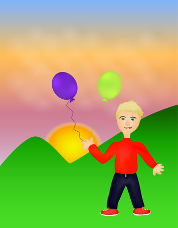 On this picture is isolated boy with two balloons. Illustration