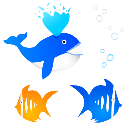 Collection of three fishes with bubbles Illustration