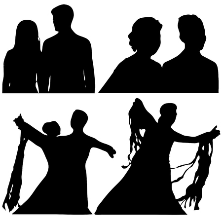 Silhouettes of couple or dancers