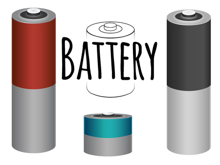 Set of batteries with outlined battery with inscription