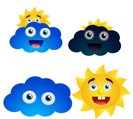 Vector smiling weather symbols Illustration