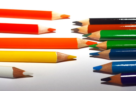 Photo of crayons on a white backdrop Stock Photo