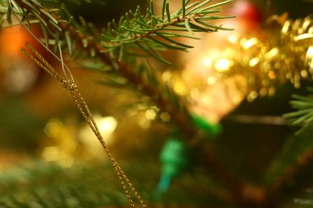 Photo of christmas tree in evening with lights on Stock Photo