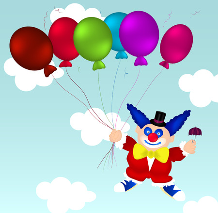 Flying clown in red clothes
