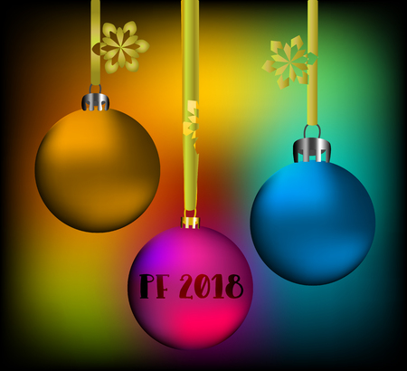 Vector greeting card with inscription pf 2018 and a few colored christmas globes