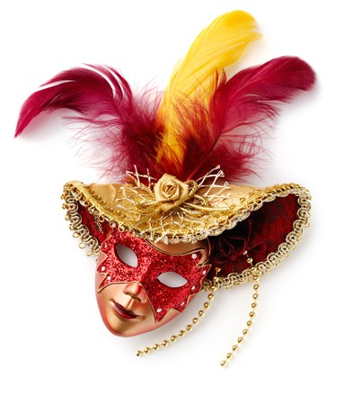 drama mask: Red carnival mask. Isolated over white