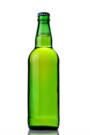 Green beer bottle isolated on white