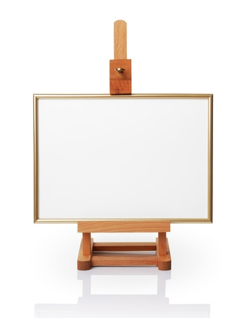 Little wooden easel and white canvas. Isolated on white Stock Photo