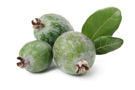 feijoa: Feijoa and leaves isolated over white